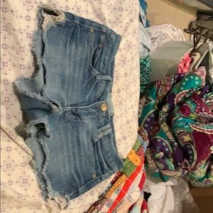 denim cutoff shorts with lace on sides
